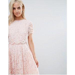 ASOS Light Pale Pink Lace Crop Top Midi Dress